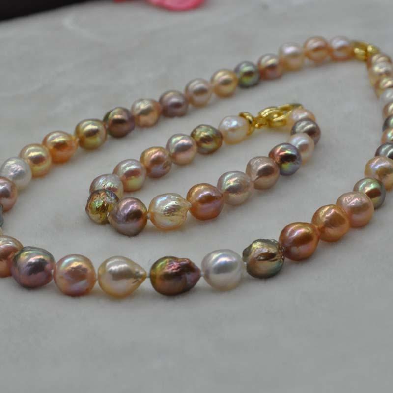 Conjunto de collar y pulsera de perlas FW Kasumi multicolores hermosos 9 11mm-in Conjuntos de joyería from Joyería y accesorios    1
