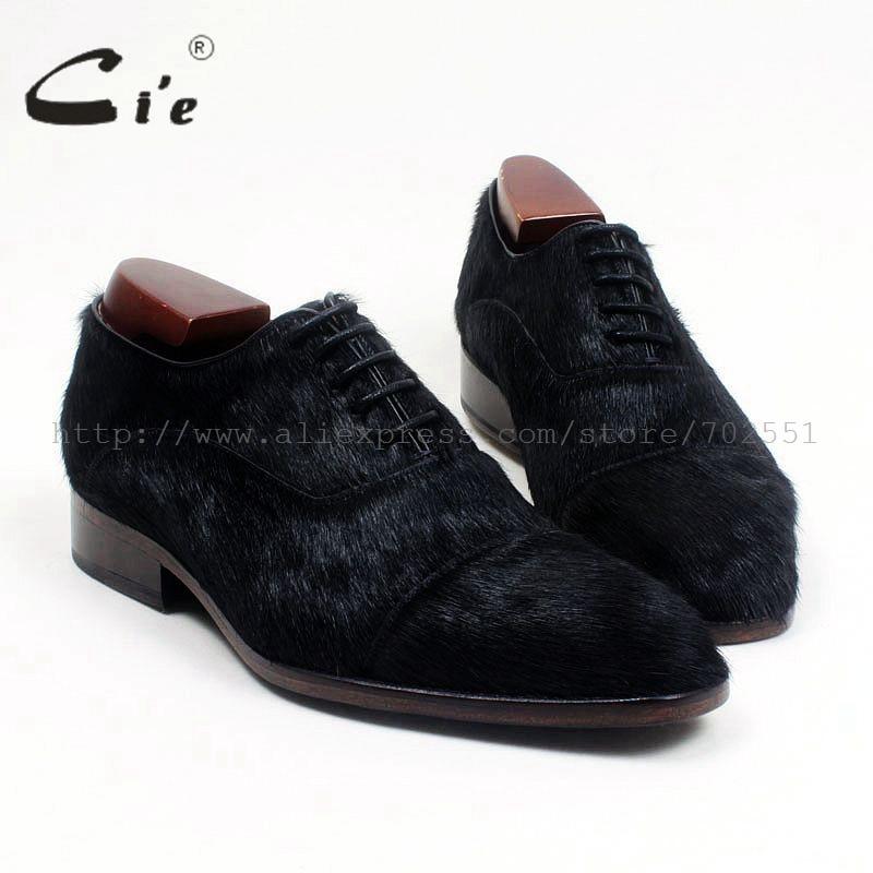 CIE квадратный Cap Toe черный конский волос из натуральной кожи теленка, стелька/подошва дышащая заказ мужская кожаная обувь ручной работы на пл... ...
