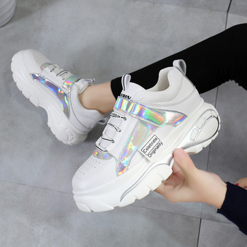 Glitter Sneakers Thick Bottom White Shoes Fashion Casual Wedges Shoes for Women Zapatos Rosados Mujer 2019 Spring 白 スニーカー 厚底