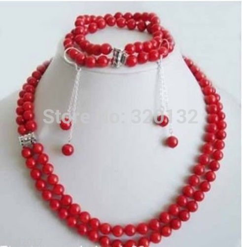 Rare 3 rows 7-8mm Pink coral beads necklace