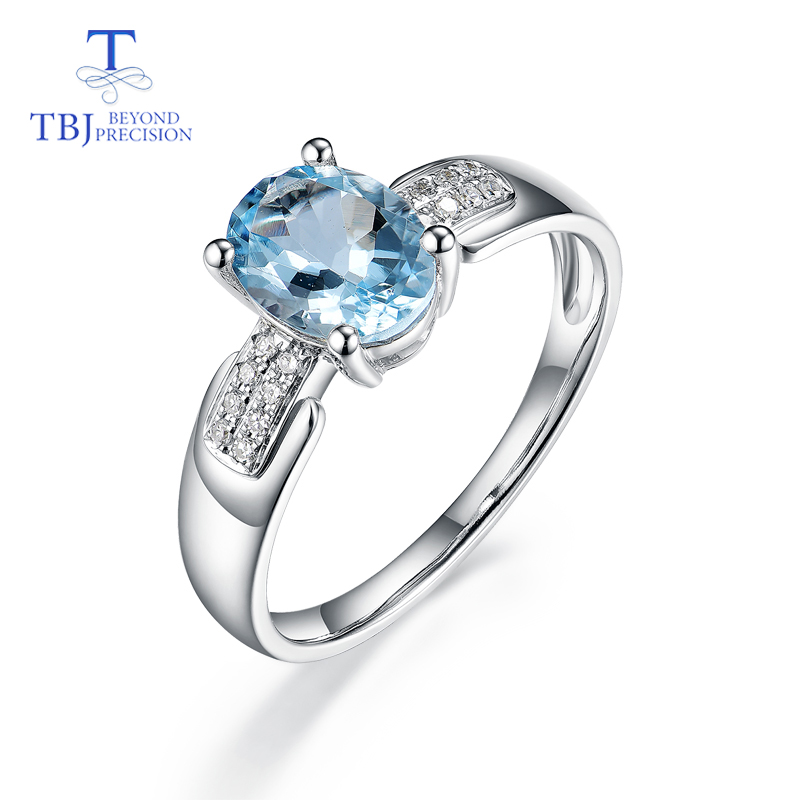 TBJ,14K white gold rings 100% natural aquamarine with diamond gemstone fine jewelry apply to proposal ring & bridal jewelry sets