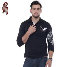HEYKESON Mens Polo Shirt Brands 2017 Male Long Sleeve Fashion Casual Slim Solid Eagle Printing Polos Men Jerseys XXL