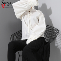 New 2018 Korean Style Women Solid Color White Shirt Blouses With Ribbon Bow Very Long Sleeves