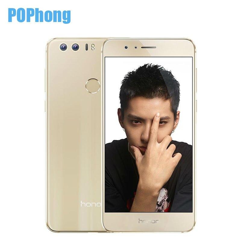 Цена за Оригинал huawei honor 8 4 ГБ ram 64 ГБ rom смартфон два камеры 2.5D Стекло 5.2 Дюймов Dual SIM Окта основные Кирин 950 инфракрасный