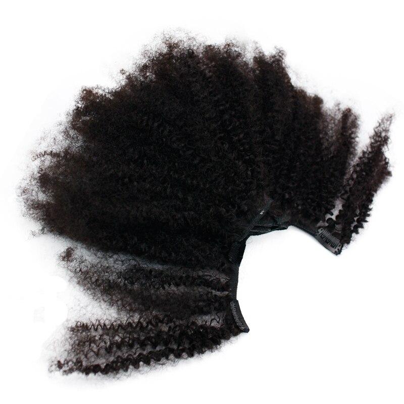 Eseewigs 4B 4C Afro Crépus Bouclés Clip Ins extensions de cheveux humains Naturel Clipin Pleine Tête 7 pièces 120G 16 Clips Mongol cheveux remy