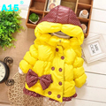 A15 2017 bebé niñas prendas de abrigo infantil para niños chaquetas para chica Chaqueta de Invierno Con Capucha Caliente 2 3 4 5 Años Los Niños ropa