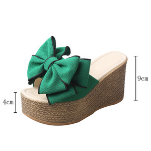 Image 3 - VTOTA Women Slippers Fashion Pee Toe Summer Shoes Butterfly knot High Heels Women Slides Platform Wedges Ladies Women Shoes F66