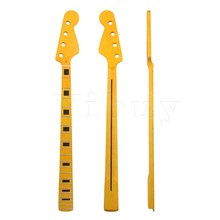 Yibuy 87x 9.5cm Maple Yellow 21 Fret Guitar Neck Fingerboard for 4 Strings JB Bass Guitar Parts