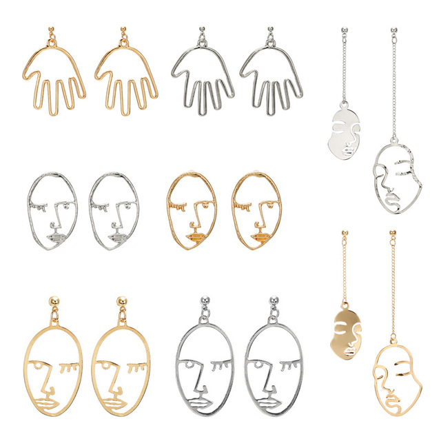 Retro face Earrings Metal Alloy Fashion jewelry Abstract Hollow Out Drop Earrings for women Exaggeration Mask earring gift