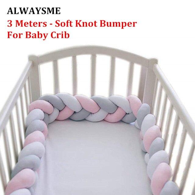 ALWAYSME 3 metros bebé cunas cuna cama Bumpers diseño de nudo suave protección parachoques accesorios de cama para decoración de habitación de bebé