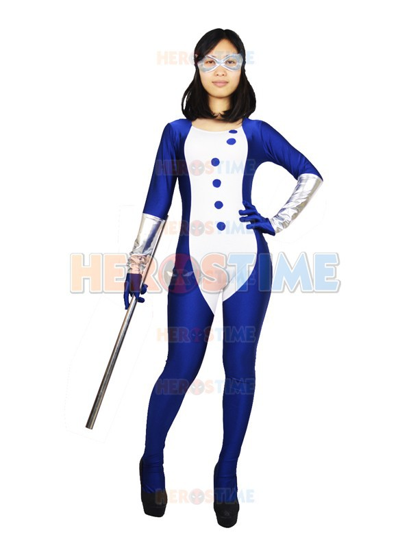 Navy Blue Mockingbird Costume Spandex full body Superhero Costume Halloween party costume zentai suit no hood