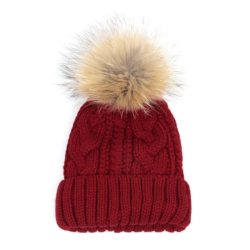 1pcs efero Fur Pom Poms Knitted Hat Ball Beanies Winter Hat For Women Girl's Wool Hats Skullies Beanies Thick Warm Female Cap wholesale two fur ball pompon solid beanie hats pom poms hats winter warm skullies