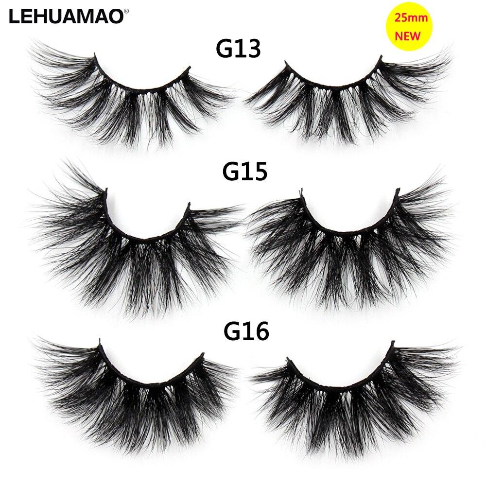 LEHUAMAO Eyelashes 3D Mink 25mm Eyelashes Criss-cross Thick Fluffy Mink Lashes Long Lasting Dramatic False Eyelashes Extension