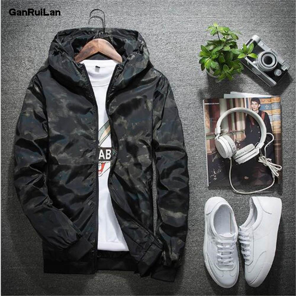 2019 Mens Casual Camouflage Hoodie Jacket Fashion Waterproof Clothes Spring Autumn Men's Windbreaker Coat Male Outwear 4XL