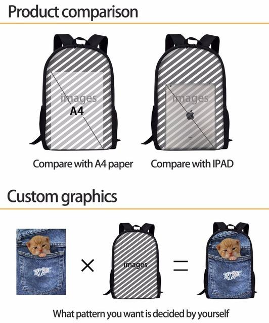 FORUDESIGNS 2018 Women Backpack Schoolbag Cute Animal Fox Children Backpack Female Notebook Student Book Bag For Girls School