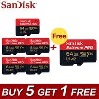 Buy 5 Get 1 Free Original SanDisk Memory Extreme Pro 128GB 64GB SDXC Micro SD Card Class 10 U3 A2 UHS I V30 TF Card Microsd