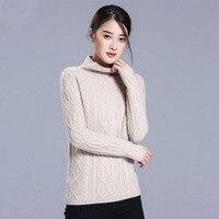 100% Pure кашемировый свитер Для женщин зима 2018 тонкий штуцер с длинным рукавом трикотажные ребристые Tricot теплый толстый Водолазка Для женщин s