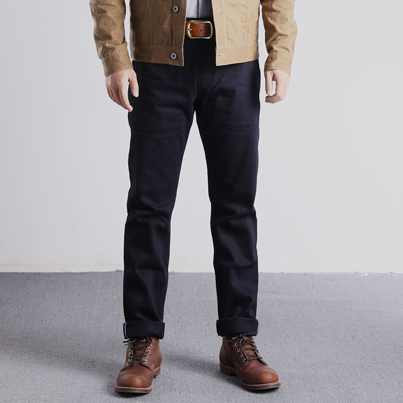 Red Wind Selvedge Denim Officer Chino Vintage WW2 Military Trousers Slim Fit Blue-Black ONEWASH
