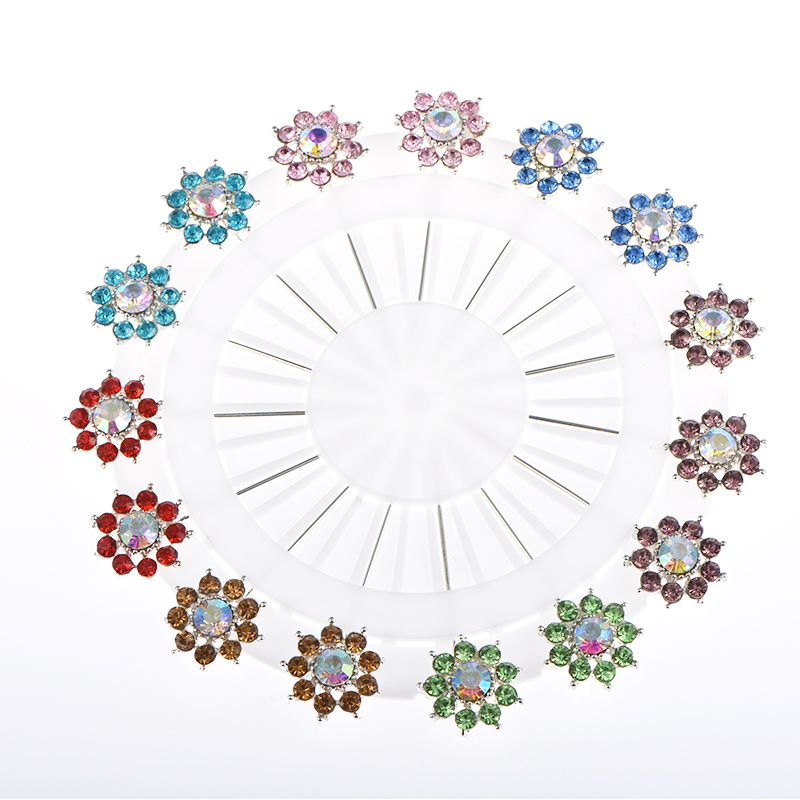 DCEE New Hijab Pins 15PCS Flower Butterfly Crystal Muslim Hijab Brooches For Women Safety Scarf Pins Silver Pins Mix Color