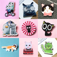 Hot Cute Cartoon Cat Badge Jeans Decor Acrylic Brooch Children/Girl Clothes Badge Decorative Rozet Collar Scarf Lapel Pin Broach