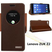 Высокое Качество Природной Натуральная Кожа Окно Магнит Флип Стенд Cover Case Для Lenovo ZUK Z2 5.0 дюймов Роскошный Мобильный Телефон