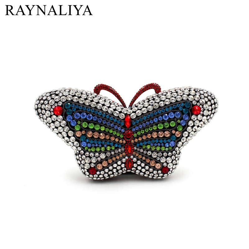 Popular Luxury Evening Bags Sparkly Crystal Women Party Bag Colorful Butterfly Pattern Ladies Dinner Prom Clutch Smyzh-e0326 new luxury hollow handbag dinner party bag women s evening bag fashion women s crossbody bag women clutch bags lady gifts flower