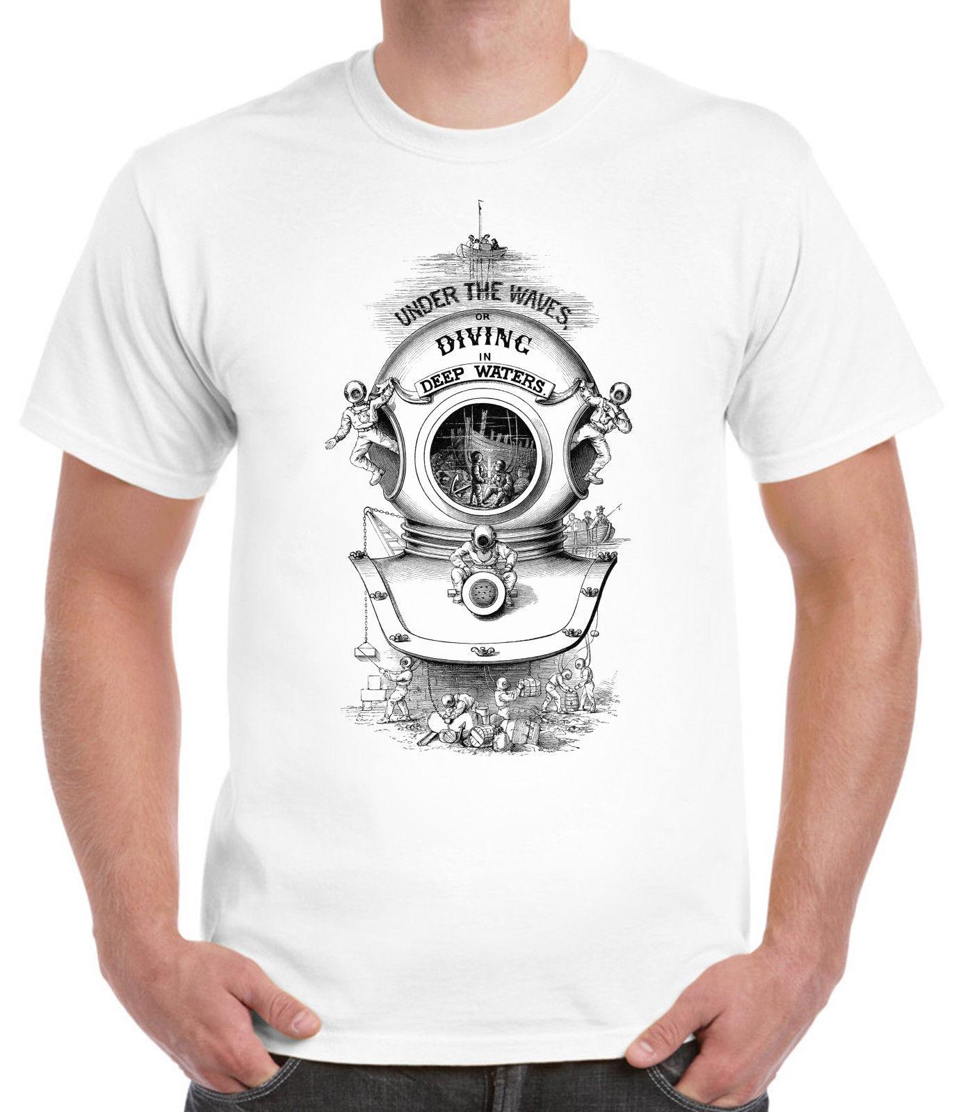 2019 Fashion 100% Cotton Men T Shirt Custom Victorian Diver Illustration T-Shirt.Victoriana Scuba Vintage Dive Muscle T Shirt
