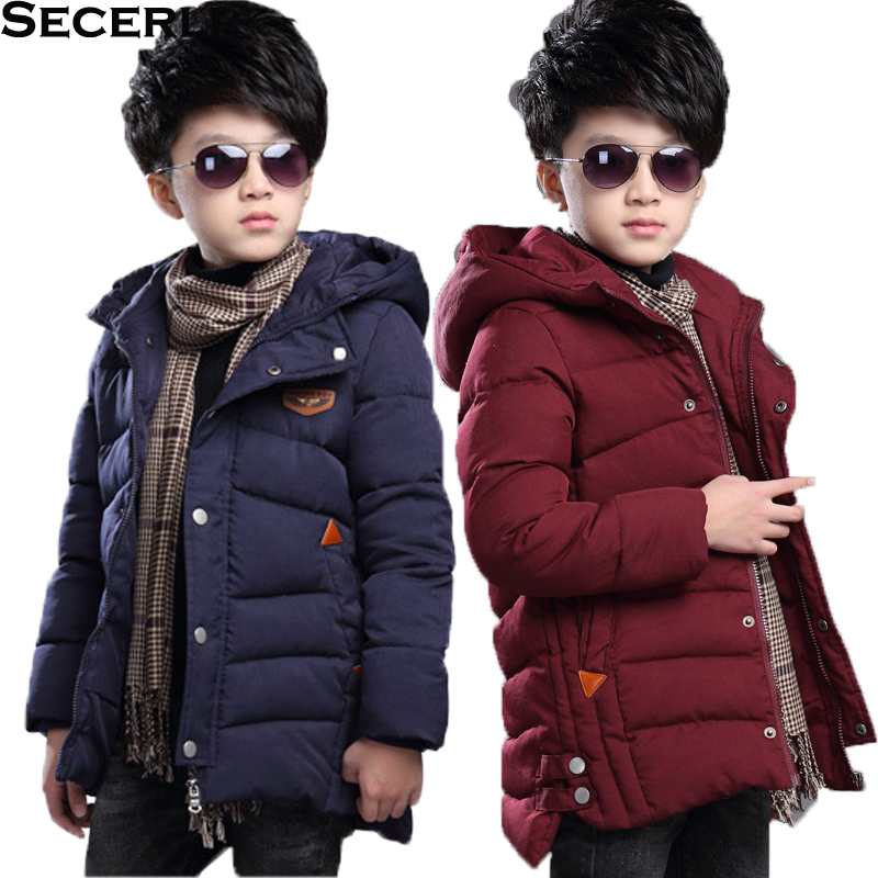 Boys Winter Outwear Jacket Children Coat Warm-Down Cotton Hooded Solid 3-To-15-Years