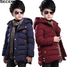 Новое зимнее пальто с капюшоном для мальчиков однотонная зимняя куртка для мальчиков теплая хлопковая детская зимняя куртка Верхняя одежда для детей от 3 до 15 лет