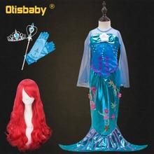 Children Little Mermaid Ariel Dress Long Flutter Sleeve Girl Mermaid Tails Dresses Princess Ariel Halloween Costume for Girls недорого