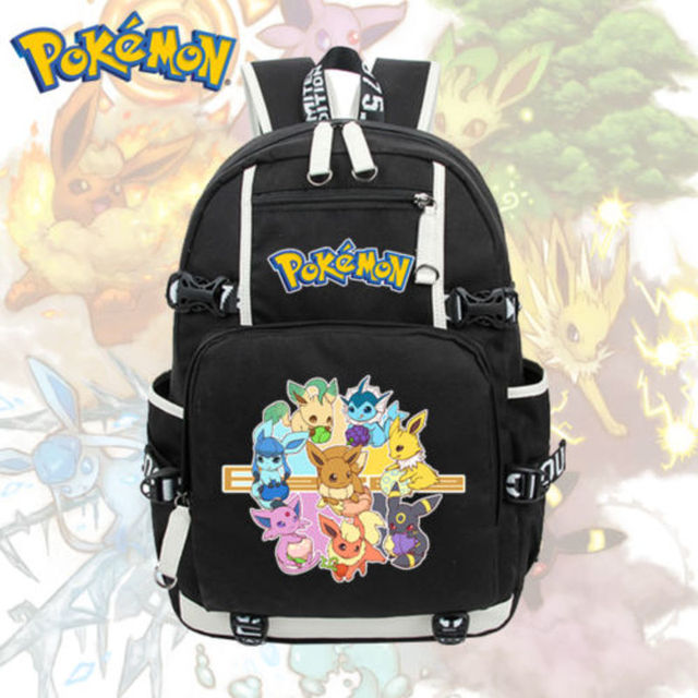 888fb182eb Anime Pokemon Eevee Backpack Cosplay Pikachu Shoulder Laptop Bags Knapsack  Packsack Travel School Student Bags Otaku