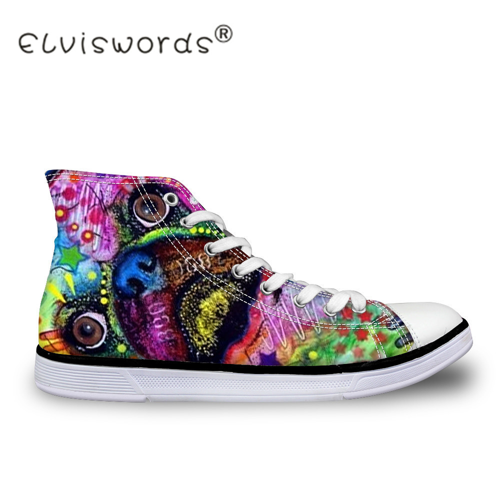ELVISWORDS Women High-top Canvas Shoes Painting Pet Dog Pug Printing Vulcanize Shoes Casual for Teenager Girls Female Shoe Mujer e lov women casual walking shoes graffiti aries horoscope canvas shoe low top flat oxford shoes for couples lovers