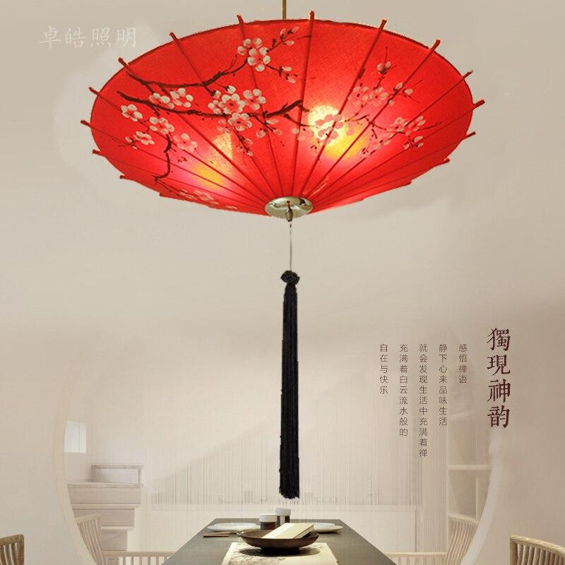 Restaurant librairie vêtements chinois parapluie pendentif lumières classique salon magasin rouge tissu éclairage pendentif lampes ZS166