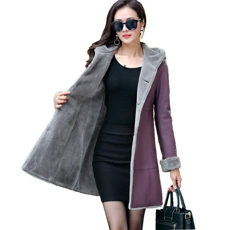 New Winter Suede Leather Coat Women Fashionable Long Thick Lamb Fur Parka Female Faux Sheepskin Windbreakers Jacket LJ0743