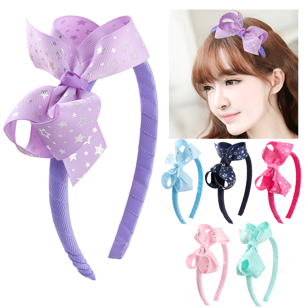 1PC Fabric Ribbon Bow Hairband For Kids Girls Cute Handmade Hard Satin Covered Headband Hair Accessories Hair Hoop in Hair Accessories from Mother Kids