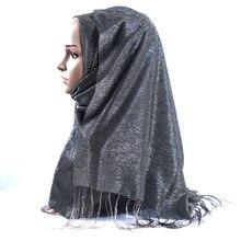 Arabian solid color headband National wind hijab muslim silk scarf echarpes femme 2019 designer tassel women luxury