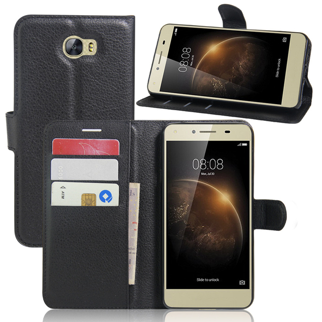the best attitude 38e25 4ddc1 US $4.6 |PU Leather case for Huawei Y5 II/Huawei Y6 Elite Wallet With Card  Holder Stand case For Huawei Y6 Elite Protective Phone Case-in Flip Cases  ...