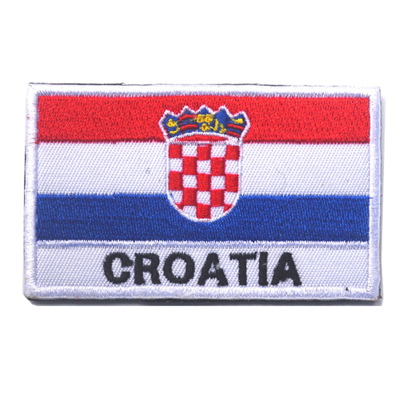 5pcs/lot 8*5cm Croatia embroidery flag patch for iron on transfer/vertical stripe/badge