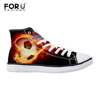 FORUDESIGNS Classic Men's Shoes Ball Printed High top Vulcanize Shoes Casual Lace up Canvas Shoes for Men Students Flat Shoes