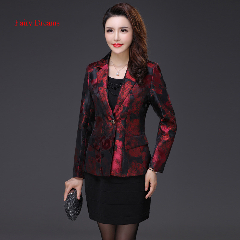 Fairy Dreams font b Women b font Blazers Red Golden Coat Formal font b Jacket b