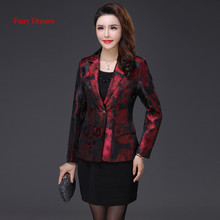 Fairy Dreams Women Blazers Red Golden Coat Formal Jacket 2017 Hot Sale New Style Spring Autumn Winter Clothes Jacquard Outerwear