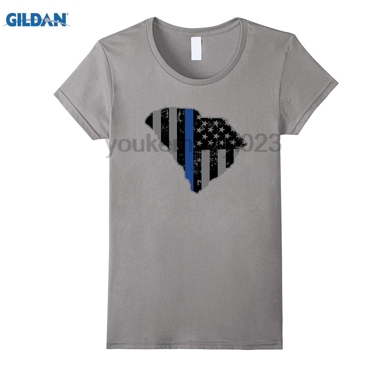 GILDAN South Carolina Highway Patrol Shirt Thin Blue Line Flag