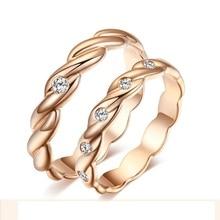 Love Diamond Ring 18K Rose Gold Diamond Wedding Rings Couple Set Genuine Gold Engagement Ring Wedding Band
