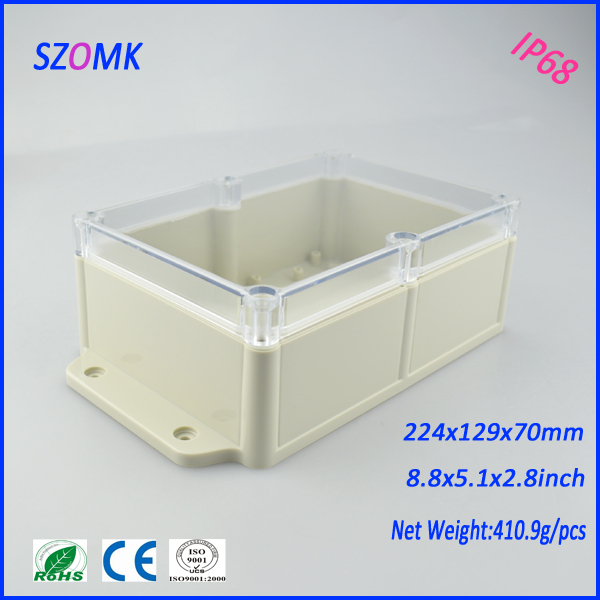 10 pcs/lot IP 68 clear cover case housing cable connection boxes 224*129*70 mm acquisition modbus abs housing in-wall