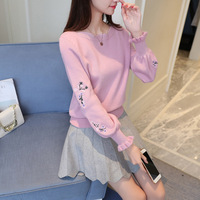 Chinese Fashion Flower Embroidery Pullover Knit Sweater Women Jersey Runway Designer Knitwear Cute Girl Gift Jumper