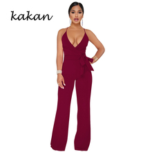 Kakan 2019 summer new women's jumpsuit classic solid color strap V-neck jumpsuit bow back wide leg jumpsuit