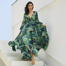 Women Boho Chiffon Long Dress Floral Evening Party Summer Beach Sundress V-neck Elegant Casual Dresses Vestido Plus Size 3XL 2019 plus size party dresses women summer long maxi dress casual slim elegant dress bodycon female beach dresses for women 3xl