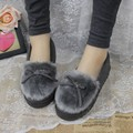 Warm Cement China Shoes Pigskin Shoes For Women Bowtie Brand Shoes Woman Soft Leather Special Offer Burst Models Solid Gravida