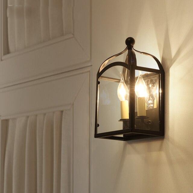 US $123.0 |Loft vintage lampada da parete camera da letto in ferro battuto  colore nero soggiorno applique da parete con lampadine a led 110 v 220 v di  ...