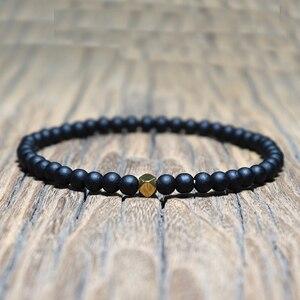 Image 2 - Mode 4 mm Schwarz Matte Obsidian Armband Minimalistischen Yoga Gebet Perlen Braclet Für Männer Armband Mala Schmuck Homme Bileklik